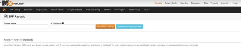 MxToolBox のSPFレコード確認画面のスクリーンショット